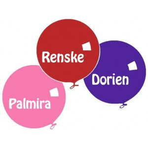 Tri Colore Balloon Name Labels Girls