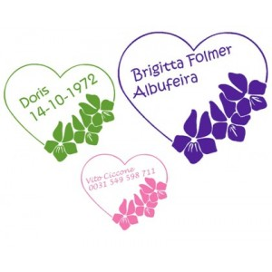 Flower Heart Name Labels